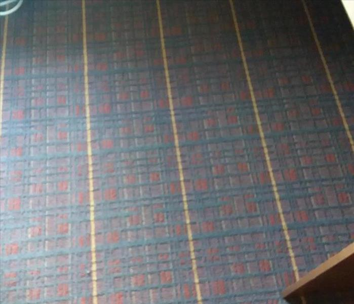 Picture of burgundy plaid carpet after we cleaned it.