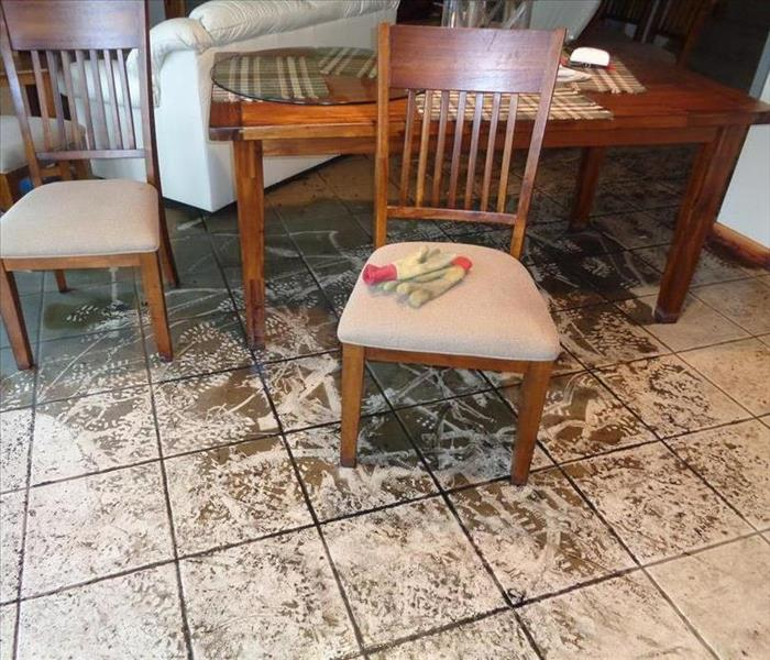 Photo of dining room contents and flooring compromised after a water loss.